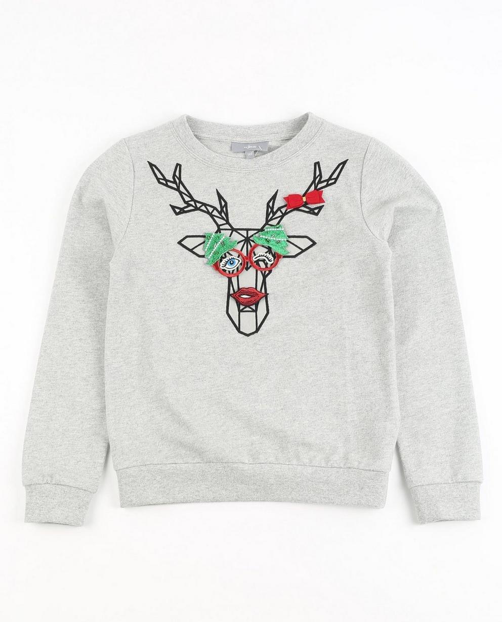 Pull de Noël à écussons  - et imprimé de rennes - JBC